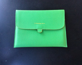 Green Pebble Grain M. Humming Leather Sleeve for Apple iPad (9.7in H) Protective Case/Cover/Pouch