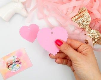 Set di 10 25 50 Tag Cuore Romantico in Cartoncino Rosa
