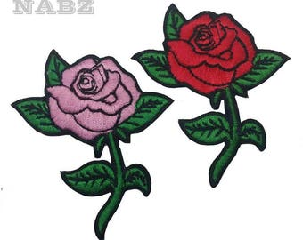 Red Pink Rose Flower Embroidery iron Sew on Patch Badge