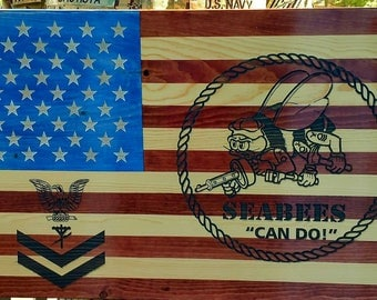 Seabee flag with rating badge