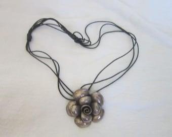 Antique Sterling Silver Large Flower Pendant Necklace