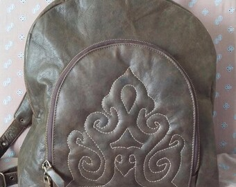 Brown genuine leather backpack