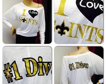 ON SALE Saints off the shoulder shirt   New Orleans Saints doleman  