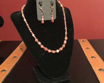 Brown goldstone necklace and earring set