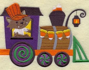 Trick-or-Treat Train - Werewolf Engine, Embroidered Halloween Dish Towel, Halloween Tea Towel, Halloween Decoration, Halloween Kitchen Towel