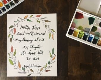 SALE: 8x10 Original Watercolor and Ink Painting with hand-lettered Mother Teresa Sarah Silverman quote