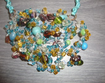 crocheted with glass beads necklace with nylon thread