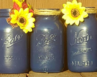 Hand Painted navy blue mason jars, sunflower mason jars, farmhouse decor, wedding mason jars, wedding mason jar centerpieces