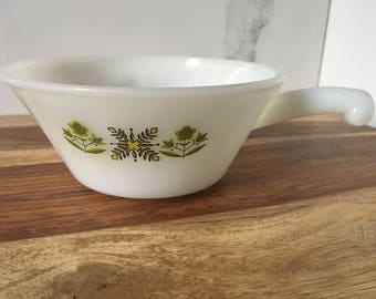 Retro soup bowl, fire king meadow green bowl with handle, vintage fire king casserole dish with handle