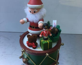 Vintage Christmas music box, antique Santa Claus musical wind-up toy, vintage christmas decorations