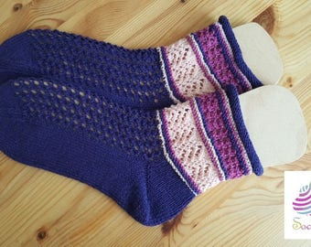 Hand knitted socks, DonnaRocco raspberry witch, hole pattern, summer socks, size 36/37 purple, pink