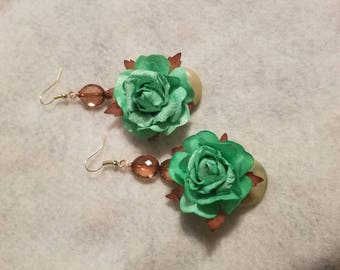 Mint Green Paper Flower Dangle Drop Earrings - The Bloom Collection