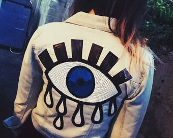 Sequin Matiasma Eye Crop Denim Jacket