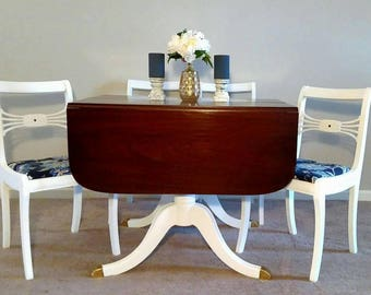 1949 New Travis Court by Drexel drop leaf dining table 4 chairs set wood white Navy blue & gold claw foot