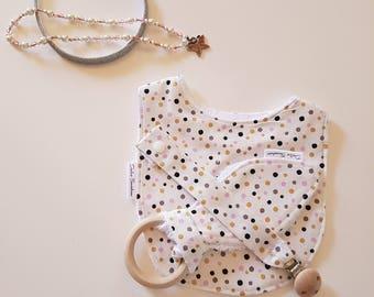 Multi Colour Dot design 3 piece set - Bib, Dummy Chain & Teether (Medium)
