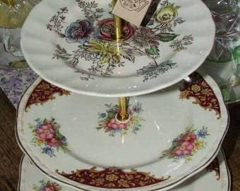 Vintage 3 Tier Bone China Cake Stand ideal for Weddings, Afternoon Tea, cupcake display, dessert stand, jewellery stand Indian Tree