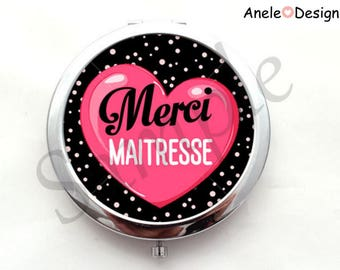 Pocket mirror gift mistress - thank you mistress - heart pink black rose white pea