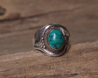 Green Turquoise Sterling Silver Ring, Western Boho Jewelry, Boho Ring, Silver Ring, Unique Jewelry