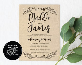 Black and White Wedding Invitation, Modern Botanical Wedding Invite, 5x7 Wedding Invitations, Instant Download