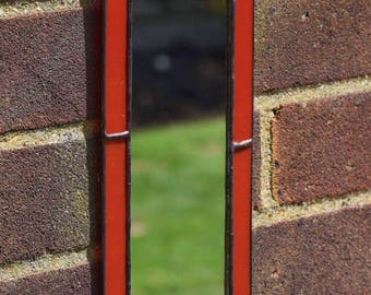Handmade Custom Small Bright Red Stained Glass Mirror