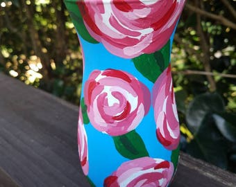 Rose hand painted small glass vase