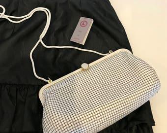 White & Gold Vintage Glomesh Lifinia Sydney Handbag/Clutch with Detachable Snake Chain Strap