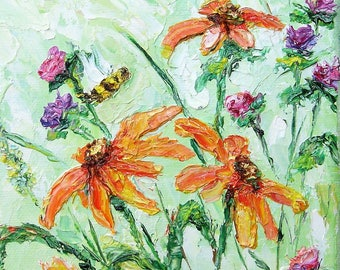 "Bee Painting oil painting  Wall  Decor Original Art Modern 5""x7"" canvas palette knife textured abstract modern"
