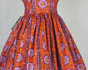 Ankara dress, African wax red summer dress, African wax, Robe africaine, jupe motifs africaines, Size US 10