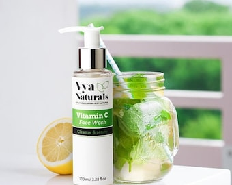 Summer SALE Vya Naturals Vitamin C Facial Cleanser- Anti Aging, Breakout & Wrinkle Reducing Face Wash - For Oily Skin, Dry Skin and Normal S
