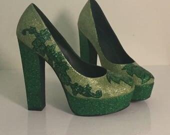 Custom Glitter Poison Ivy Heels/Geek Glitter Shoes/PoisonIvyShoes