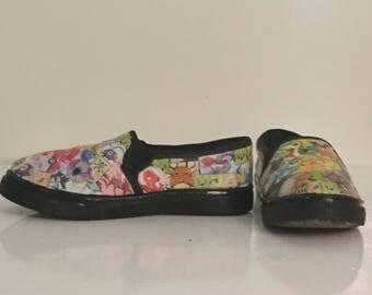Pokemon Shoes/Comic Book Shoes/Decoupage Shoes/Custom Shoes