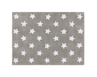 100% cotton washable grey Star carpet