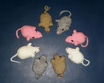 Knitted toys mouse 8 pieces