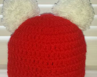 Baby knit hat with PomPoms 0-3 months