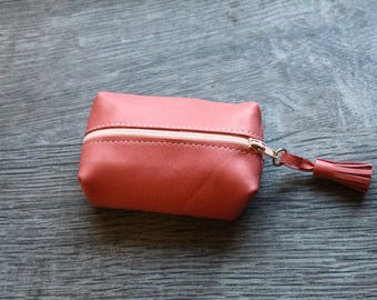 Wallet leather - salmon