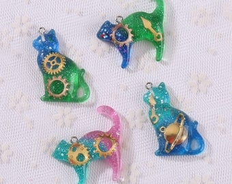 12pcs Cat charms, Cat resin charms, Glitter charms, Kawaii resin pendants, DIY Cat Jewelry supplies, cat pendant, Cat necklace charms