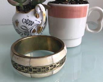 Stunning Vintage Brass & Bone Bangle Bracelet