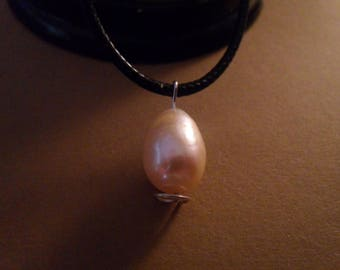 12-14mm Golden Pink South Sea Pearl with free Leather Choker