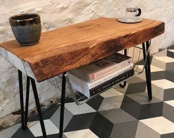 Chunk Solid Oak Live Edge Side Table with Storage.