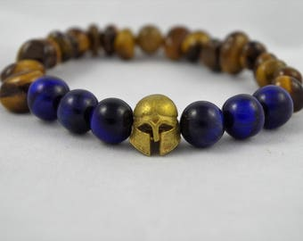 Men's beaded bracelet spartan helmet. Made with blue tiger eyes and tiger eyes (7-10mm approx.)