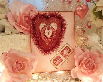 Shabby Chic Valentine's Key To My Heart Mixed Media Canvas Art Piece Vintage Valentine Folk Art Wall Hanging