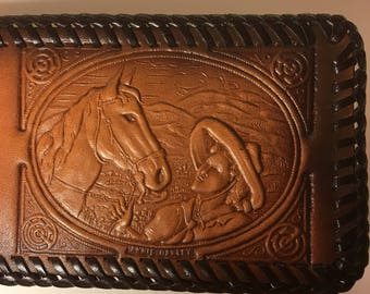 Annie Oakley Bi-Fold Leather Wallet with Bill Devider and Card Holder - NOS