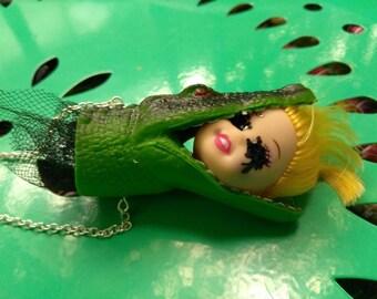 Alligator Barbie Head Necklace