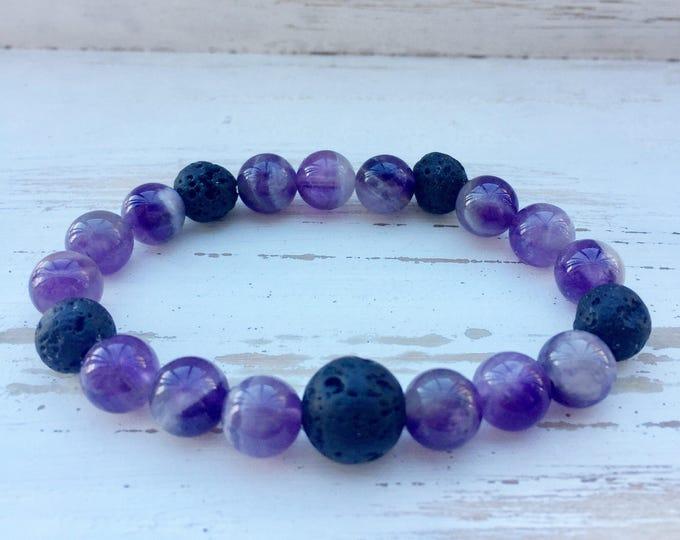 Black Lava Rock and Purple Amethyst Beaded Diffuser Bracelet for Essential Oils