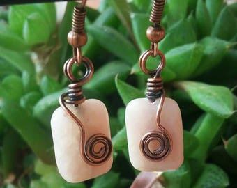 Wire wrapped pink opal earrings