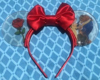 Handmade Clear Acrylic Beauty & the Beast Ears Headband with Bow