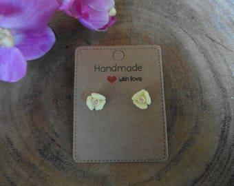 Cute Rose Porcelain Earrings