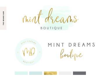 gold Logo Design / Custom Logo Design / Mint Watercolor Logo Design / Photographer Logo /Turquoise Squarespace Watermark Stamp Business Logo