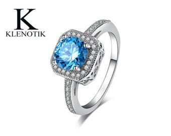 Fashion Jewelry 925 Sterling Silver Blue Diamond Engagement Ring