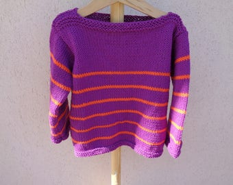 Sailor girl 3 years cotton purple and orange